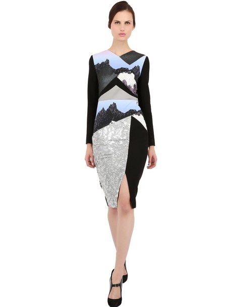 dress embroidered wool silver