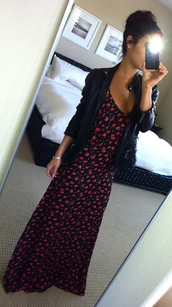 dress,jacket,floral,floral maxi dress,floral dress,sexy babe,bun,long dress,summer,elegant,sexy babes,black,roses,babe,maxi dress,leather jacket,biker jacket,rose dress,tanned girl,summer outfits,streetstyle,summer dress,red and black dress
