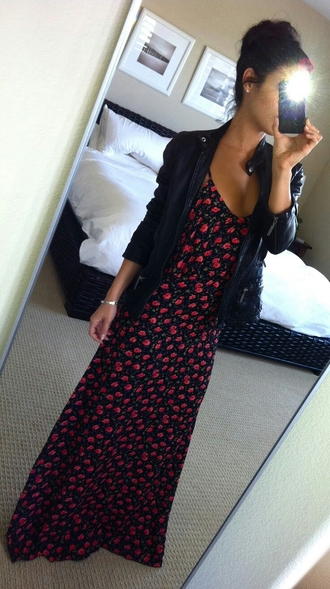 dress jacket floral floral maxi dress floral dress sexy babe bun long dress summer elegant sexy babes black roses babe maxi dress leather jacket biker jacket rose dress tanned girl summer outfits streetstyle summer dress red and black dress