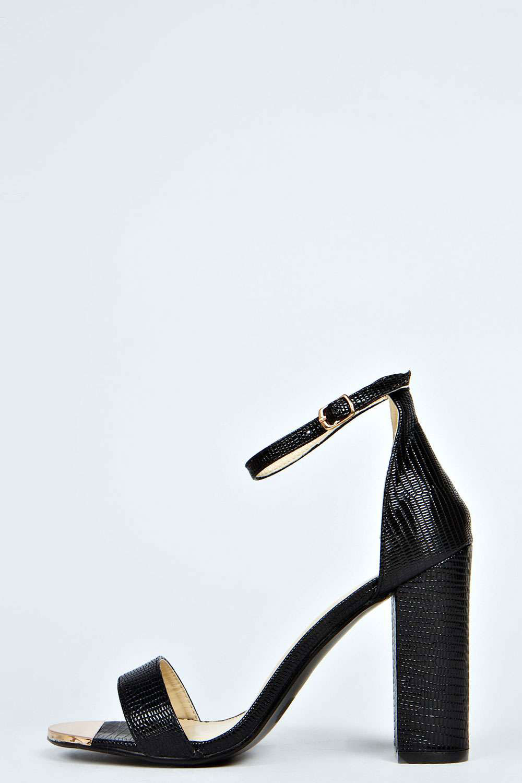 Eliza Mock Croc Ankle Strap peep Toe Block Heels