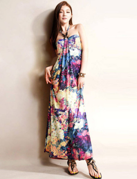 dress colorful floral maxi