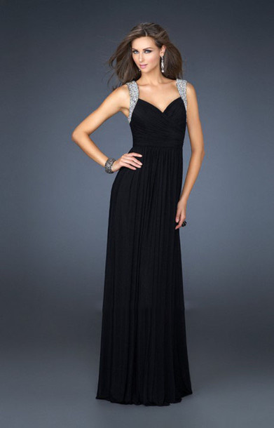 dress black long prom dress black gold sexy long prom split