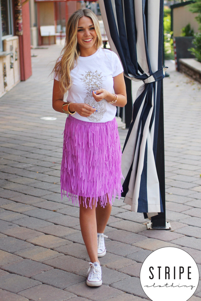 Lilac Fringe Skirt | Stripe Clothing Co.