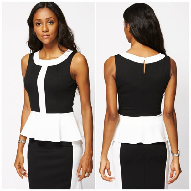 top black and white peplum peplum top