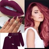 make-up,hair,nails,jumper,white teeth,ring,gold ring,red,red hair