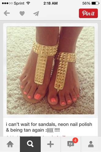 shoes gold studded shoes cute sandals metallic