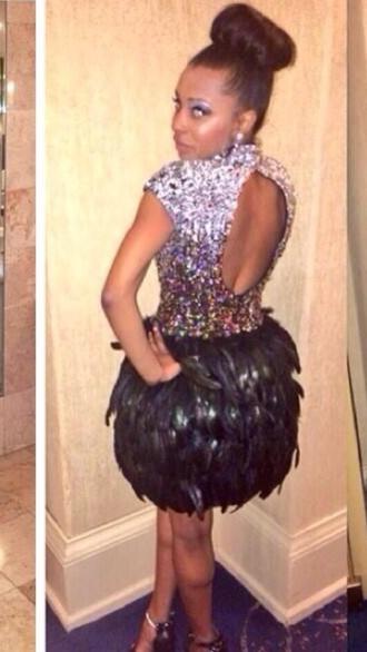 dress studded diamonds feathers prom dress rhinestones back out