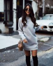dress,tumblr,sweater dress,athleisure,sweatshirt,grey dress,over the knee,over the knee boots,bag,nude bag,fall outfits,sporty,sunglasses,aviator sunglasses