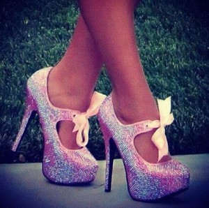 shoes pink diamonte ribbon high heels heels pink heels