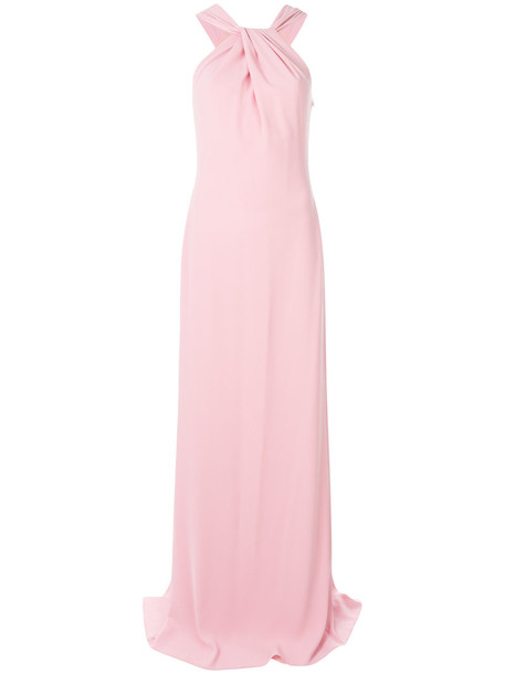 gown women draped purple pink dress