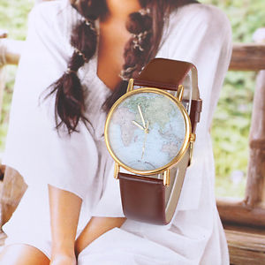 World Map Globe Fashion Leatheriod Alloy Womens Analog Quartz watches free ship | eBay