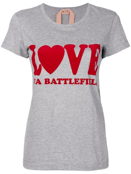 No21 - Love T-shirt - women - Cotton - 40, Grey, Cotton