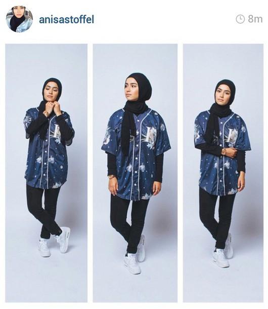 Shirt Anisastoffel Muslim Muslimah Hijab Blue Shirt Dark Blue Dope Trill Swag Fashion