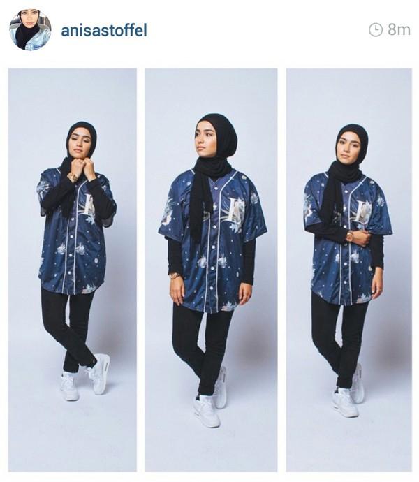Anisastoffel Muslim Muslimah Hijab Blue Shirt Dark Blue Dope Trill Swag Fashion