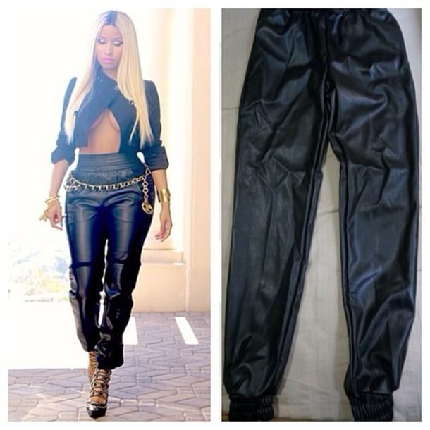 pants leather pants nicki minaj leather black