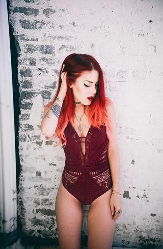 le happy blogger swimwear burgundy one piece one piece swimsuit