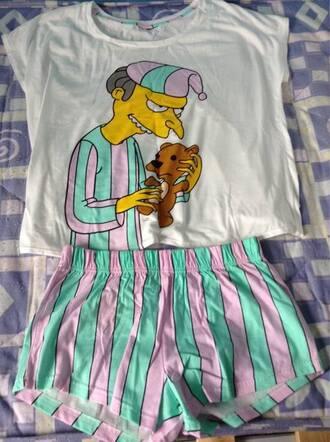 pajamas simpson t-shirt mr. burns stripes night sleepwear teddy bear blue green blue pink and mint green shirt mint green shorts purple sleepy the simpsons