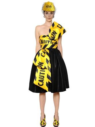 dress satin dress bow satin black yellow
