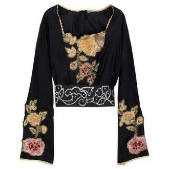 blouse black black blouse floral floral blouse bell sleeves crop crop tops long sleeves long sleeve crop top 90s style