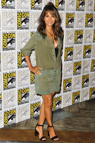 dress olive green halle berry comic con sandals mini dress shirt dress
