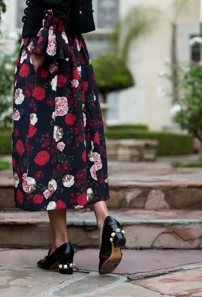 c981b49d9984 dress tumblr midi dress floral dress floral shoes mid heel pumps gucci gucci  shoes thick heel
