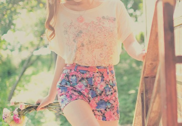 shorts floral high waisted shorts two-piece pink shorts blue shorts flowered shorts