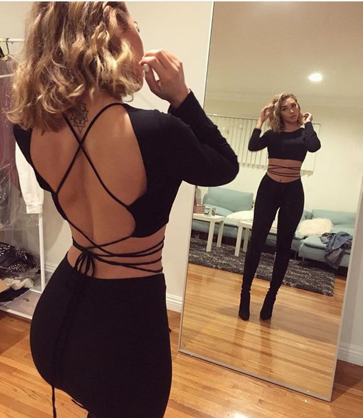 fae04f0de07 top, strap wrap around backless top, shirt, black crop top open back ...