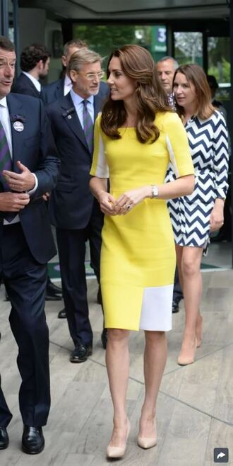 dress yellow yellow dress midi dress kate middleton pumps