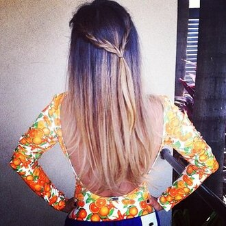 shirt top orange open back print fruits oranges body bodysuit