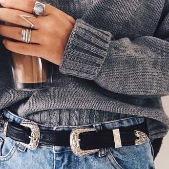 double buckle belt belt black waist belt jewels jewelry ring silver ring western belt silver silver buckle black belt