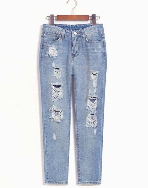 Light blue ripped boyfriend jeans from doublelw on storenvy