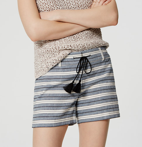 Stripe Tasseled Riviera Shorts with 4