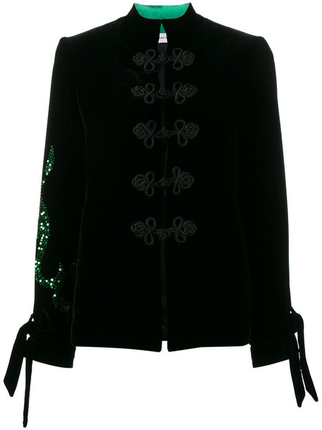 Beau Souci jacket embroidered jacket embroidered women black silk