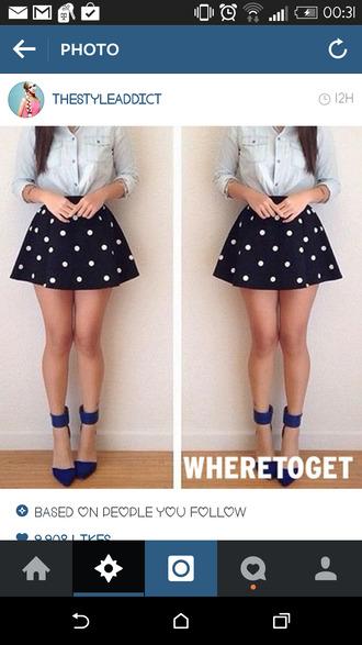 polka dots navy chamre shirt button up circle skirt denim high heels