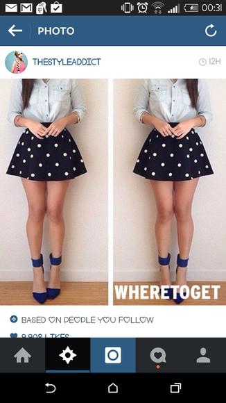 circle skirt polka dots navy chamre shirt button up denim high heels