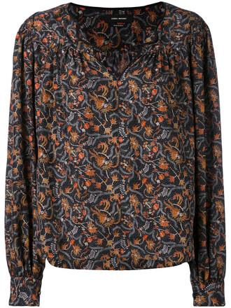 blouse women floral cotton print black silk top