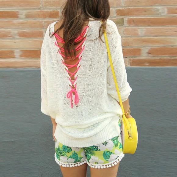 green shorts floral shorts
