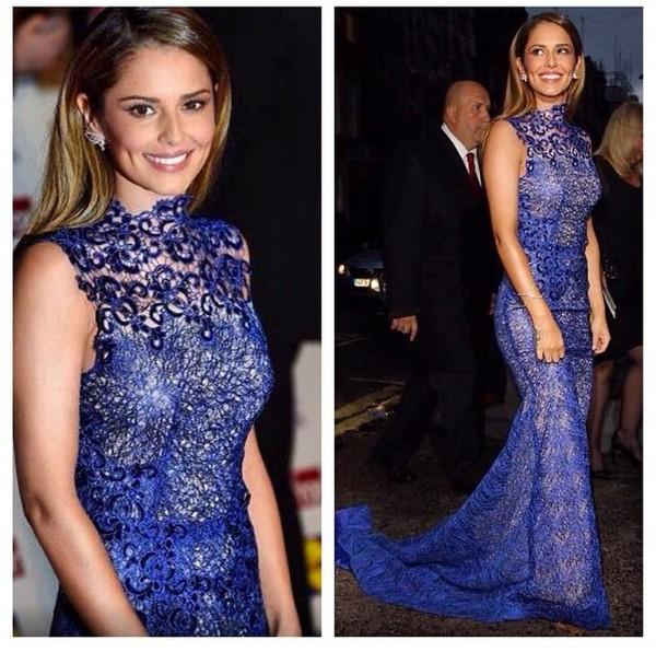 blue prom dress lace dress