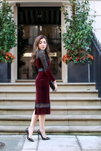 dress tumblr christmas christmas dress red dress burgundy dress burgundy midi dress red lace dress lace dress long sleeves long sleeve dress holiday season holiday dress pointed toe pumps pumps high heel pumps black heels bag black bag new year dresses