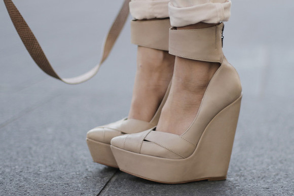 beige dress shoes wedges anklestrap