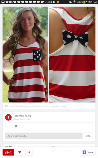 tank top red white stripes polka dots fashion style trendy rose wholesale-feb