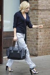 sandals,sienna miller,leather bag,cardigan,pants