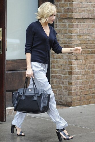 sandals sienna miller leather bag cardigan pants trousers
