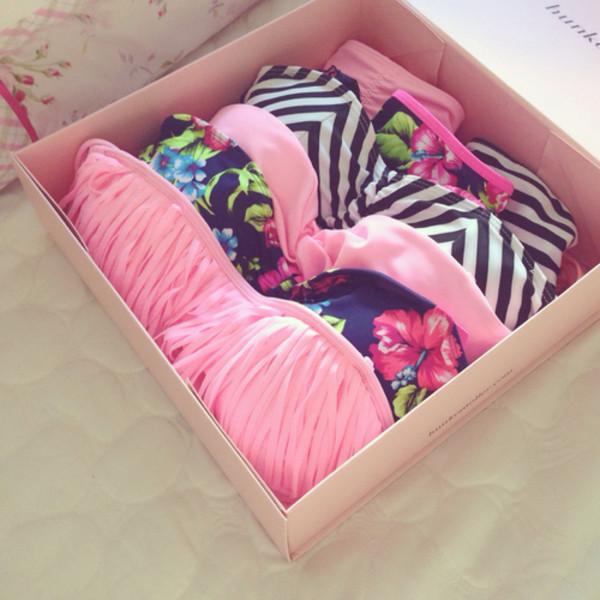 swimwear swimwear printed fashion pink pink swimwear flowers