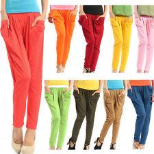 Hot women's basic solid stretch capri leggings long loose harem pants trousers