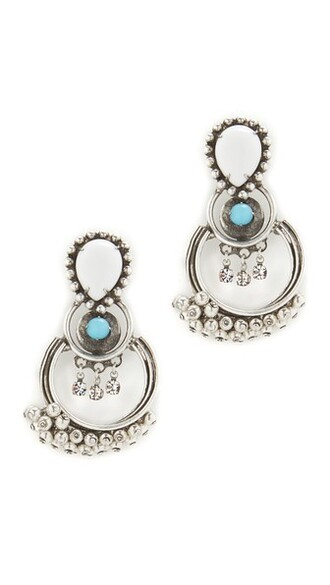 earrings silver white turquoise jewels