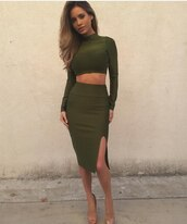 dress,two-piece,green,green dress,bodycon dress,sexy dress,long sleeves,party dress,club dress,date outfit,summer dress,spring dress,fashion,olive green,holiday dress,romantic dress,cool,girly,trendy,style,summer outfits
