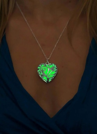 jewels green necklace silver silver chain gold gold chain glow in the dark v neck