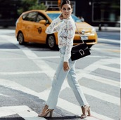 top,white,lace,lace top,lace blouses,white blouse,white top,blogger,gucci,long sleeves,bouse,sheer