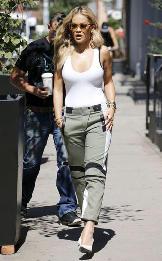 pants pumps top rita ora tank top bodysuit streetstyle